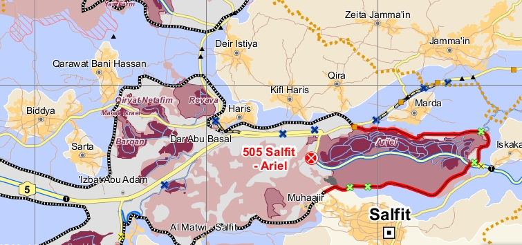 "Mapa modificado de la región de Salfit, Cisjordania (OPT). Fuente: OCHA OPT (2013). ""Humanitarian Atlas – December 2012"". Disponible en: http://www.ochaopt.org/mapstopic.aspx?id=20&page=2"