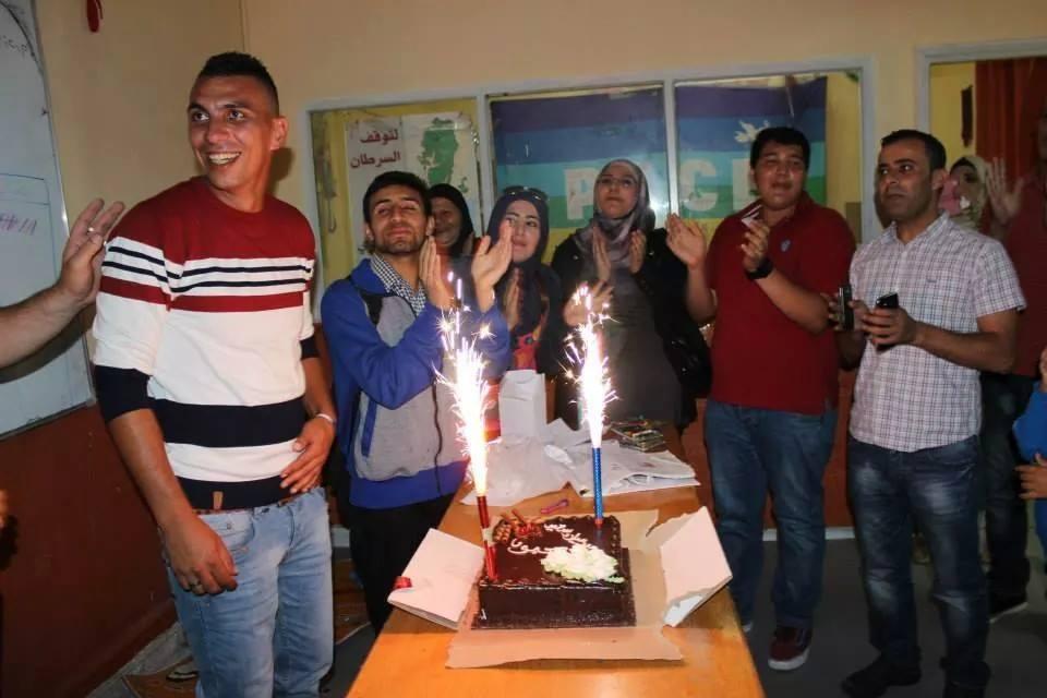 Mahmoud celebrando su 24 cumpleaños